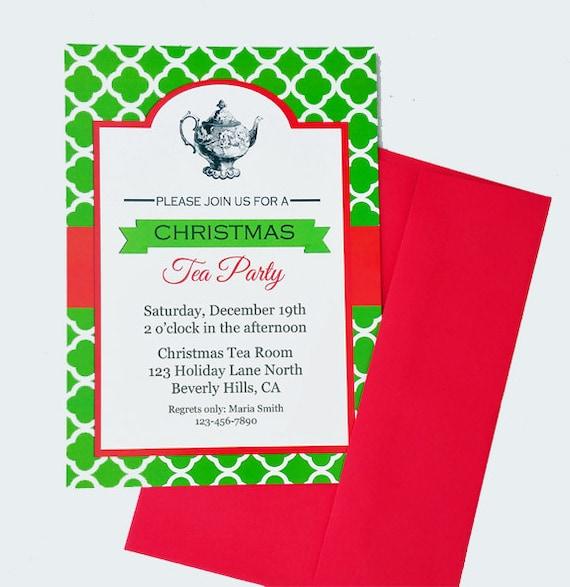 Christmas Tea Party Ideas: Christmas Tea Party Invitation Printable Or Printed With