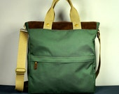 Marion Tote in Army Green Twill and Brown Suede/ Messenger/ Convertible/ Laptop Bag