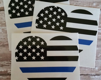 Police Flag Heart for Back the Blue, Blue Lives Matter, Police Awareness
