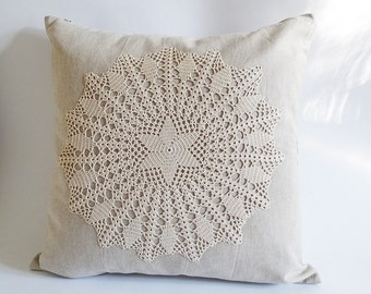 Decorative Pillow Cover 17 Inch Rustic Crochet Appliqued Cottage Style Decor Handmade Linen Cotton Pillowcase