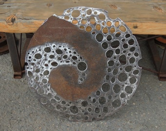 Round Metal Wall Sculpture, Contemporary Wall Art, Abstract Metal Wall Hanging, Round Recycled Metal Wallhanging, Zen Wall Art,