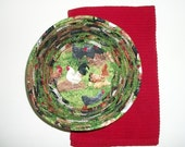 Coiled Fabric Basket Bowl Chickens Roosters Country Decor