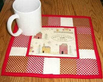 Quilted Candle Mat, Mug Rug, Coaster, Salt Box Houses, Folk Art Decor, Country Primitive, Rustic Kitchen Decor, Home Sweet Home, Snack Mat