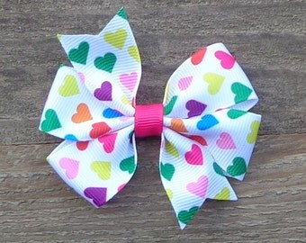 Colorful Heart Hair Bow~Heart Hair Bow~Small Boutique Bow~Small Pinwheel Bow~Valentine Hair Bow~Rainbow Hair Bow~Boutique Bows~Heart Hairbow