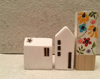 Primitive Houses/Miniature Houses/Wooden Houses/Folk Art/Home Decor