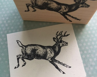 Leaping Buck Rubber Stamp 937