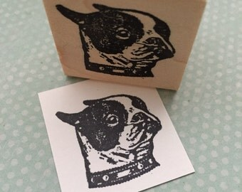Boston Terrier Wood Mounted Rubber Stamp 3936