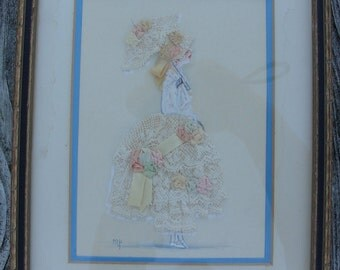 Vintage Ribbon Art Lady signed and framed some water/age marks