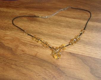 vintage necklace black silk yellow glass