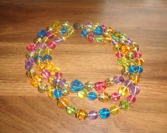 vintage necklace triple strand colorful lucite beads goldtone