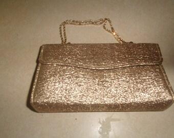 vintage ladies purse handbag gold lame rhinestones chain handle