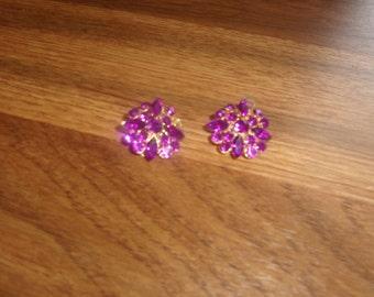 vintage clip on earrings purple rhinestones goldtone