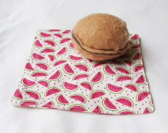SALE Watermelon Cocktail Napkins Fabric - PIcnic Set Cloth Pink Green Cream - Eco-Friendly Fruit Reusable