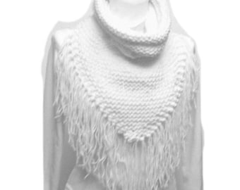 Triangle Scarf Cowl With Collar PDF Knitting Pattern Fringed Collared Triangle Scarf Is not a finished product.