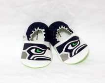 Seahawks Baby Booties -  Hawks Close Up - Seattle Seahawks Inspired Baby Shoes