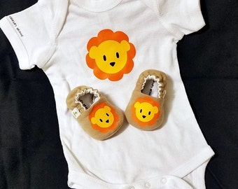 Lion Baby Booties AND Lion Onesie, from 0 - 18 Months