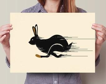 Running Rabbit, Nursery Decor, Home Decor, Wall Art, Housewarming Gift, Wedding Gift, Art Print, Poster, Rabbit, Hare, Animal