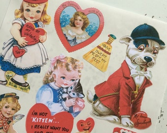 Vintage Valentines Labels Stickers Adorable Kids and Animals Set
