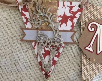 Glittered Reindeer MERRY Premium Christmas Pennant Banner
