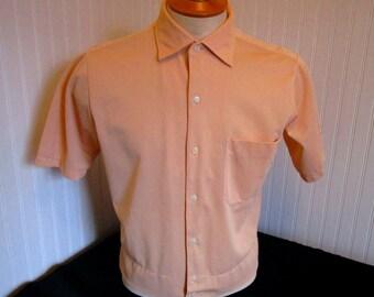 60s M Enro Shirt-Jac Nylon Men's S/S Shirt Peach