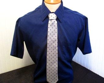 """70s 16 1/2"""" Ultressa Mens S/S Big Collar Shirt Navy Blue Jack Fraser Silk Tie"""