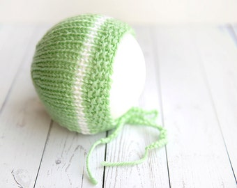 Hand knit mint green hat with white stripe neutral round back photo prop - made to order