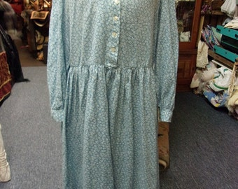 Vintage Blue Button Up Front Prairie Dress