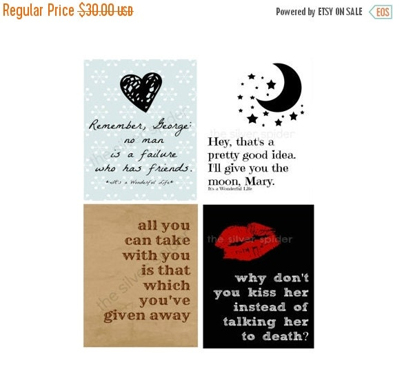 Wonderful Life Quotes: 2 Week Sale // Collection Of Four It's A By TheSilverSpider