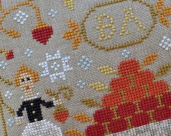 Strawberry Harvest : Barbara Ana cross stitch patterns Summer strawberries quaker hand embroidery