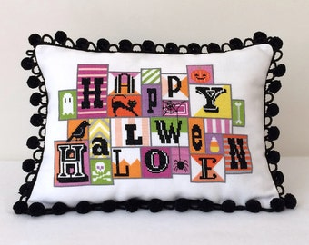 Happy Halloween : Satsuma Street Jody Rice counted cross stitch patterns October Autumn raven ghost spooky thecottageneedle