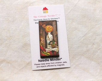 Pick One Vintage Halloween Needle Minders by the Cottage Needle magnet needles holder wooden Halloween October cauldron embroidery tool