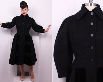 Vintage 1940's Lilli Ann Mohair and Velvet Coat • 40's Fit and Flare Designer Coat • Size S