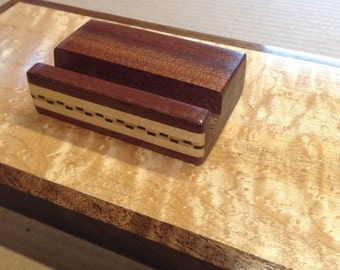 Wood Business Card Holder, office organizer, inlaid woodworking