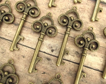 "100 Pcs - Skeleton Key BOTTLE OPENERS – Set of 100 – Antique Bronze – 2.7"" Long (69mm) - Create Your Own Wedding Favors! Ships from USA."