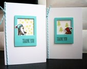 Winter Thank You Cards Set of 2, Penguin Thank You Notes, Christmas Thank You Cards