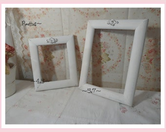 Set of Two Off White Aged Picture Frames, Twofer!