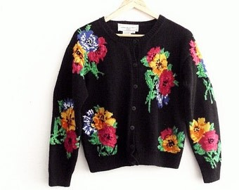 Black Floral Cardigan