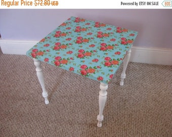 1-DAY SALE Vintage Small Table with Bright Floral Fabric