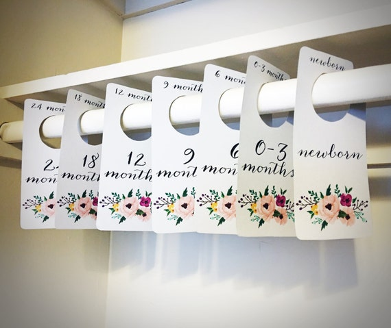 Floral Printable PDF Baby Nursery Closet Dividers and