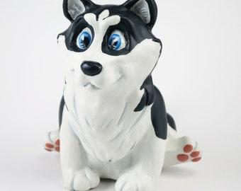 Husky Dog Figurine-Black