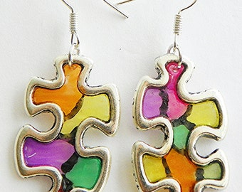 Autism Earrings Autism awareness earrings puzzle earrings Autism puzzle earrings colorful earrings puzzle piece earrings light weight earri