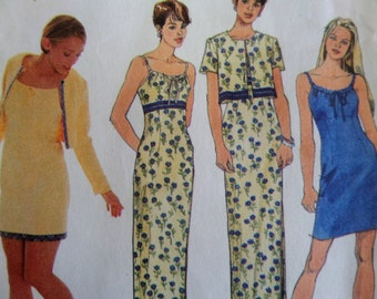 Simplicity 8570 EMPIRE WAIST DRESS & Bolero Sewing Pattern Junior 11/12-15/16; Drawstring Dress Pattern. Vintage Patterns at WhiletheCatNaps