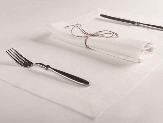 White linen napkins or placemats set of Six. Natural Cloth napkins Handmade of pure linen White or custom color table linen