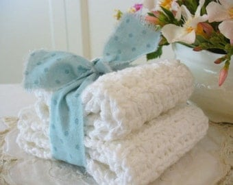 WHITE Crochet Cloths Set of 2 – Handmade by WeeWoollyBurros