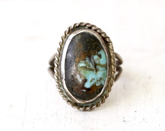 VC-39, Southwestern, Native American vintage turquoise and stearling silver ring