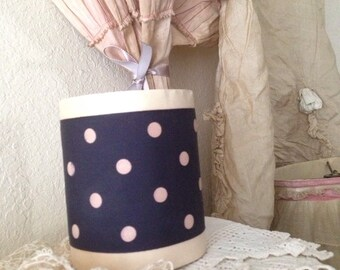 Vintage Wide Navy and Pink Polka Dot Rayon Ribbon - Whole Roll - Millinery