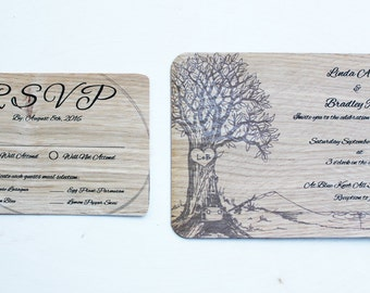 Wedding Invitations with RSVPs. Real wood veneer with magetic back.