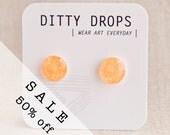ON SALE - Peach Gellies - Neon Stud Earrings - Hypoallergenic Surgical Stainless Steel Posts - orange stud earring