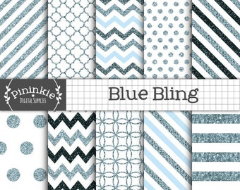 Blue Glitter Digital Paper, Blue Glitter Chevrons, Glitter Texture, Bling Glitter Patterns, Glitter Polka Dots, Commercial Use, Invitations