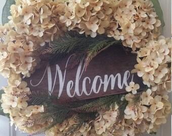 Beach house wreath!Wreaths, Hydrangea wreaths,  Christmas wreath for your front door,  Christmas hydrangea wreath for the holidays.